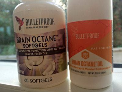Bottle of Brain Octane softgels & a 3oz size bottle