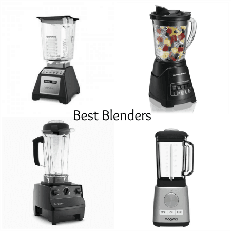 Picture showing a Blendtec, Vitamix, Hamilton Beach and Magimix food and drink blenders