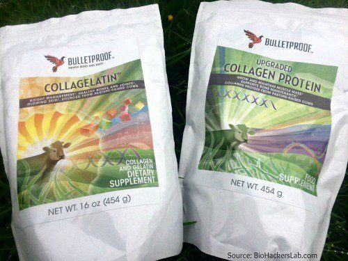 Two bags of Bulletproof collagen side from pasture raised cows side by side on grass