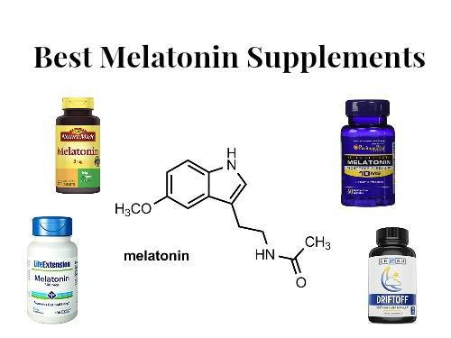Bottles of different recommended melatonin brands