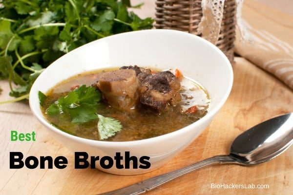 Beef bones in a broth with parsley