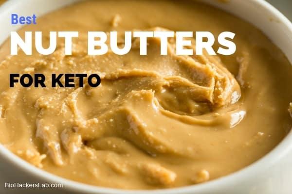 Closeup view of creamy nut butter in a jar