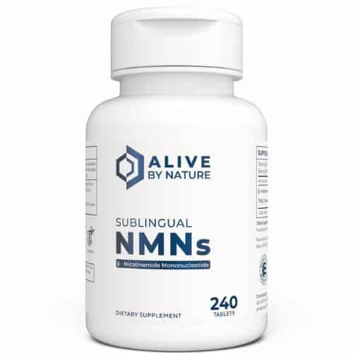 Alive By Nature sublingual NMN tablets bottle containing 240 tablets