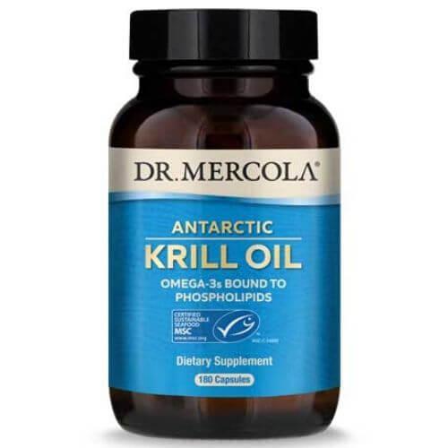 Bottle of Mercola Krill oil supplement