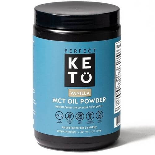 Tub of Perfect Keto vanilla flavor mct oil powder