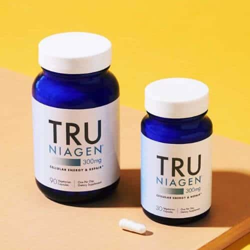 Tru Niagen supplement bottles of 30 and 90 capsules