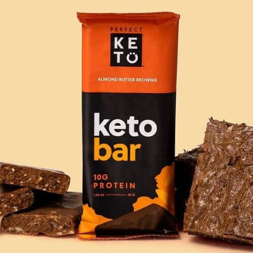 Almond butter brownie flavored Perfect Keto protein bar