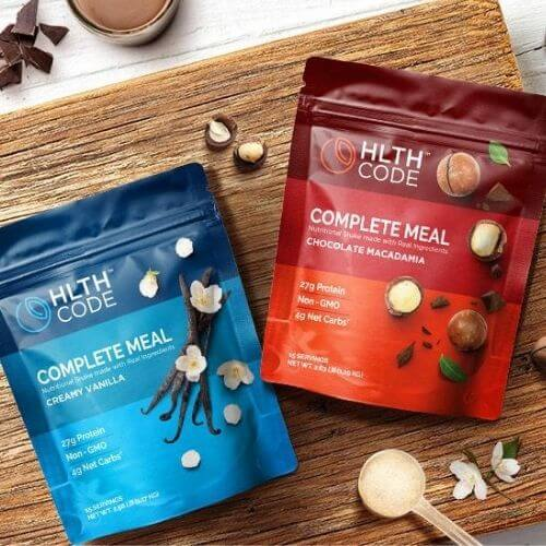 Two bags of HLTH Code complete meal powders