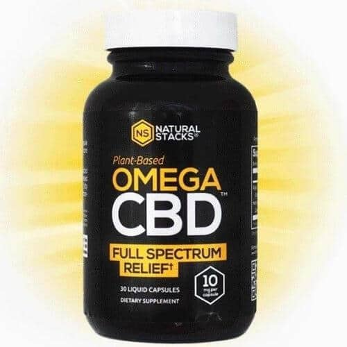 Bottle of Natural Stacks Omega CBD oil supplement