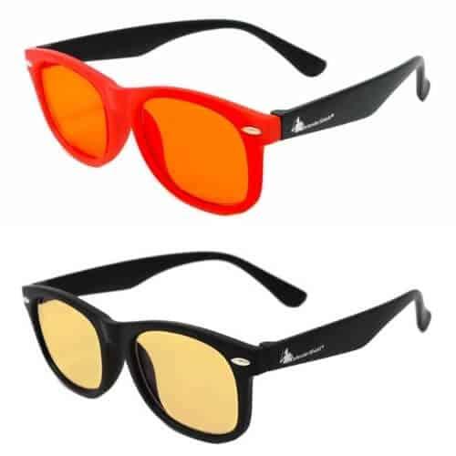 Defendershield kids blue light glasses yellow and orange lens options