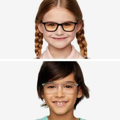 Felix Gray kids blue light glasses on a boy and girl